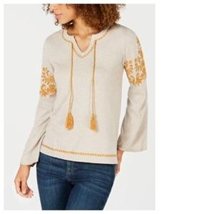 Style&Co Womens Embroidered Peasant Tunic Sweater